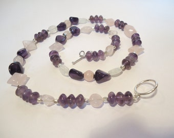 Amethyst, Rose Quartz, and Rainbow Moonstone Necklace