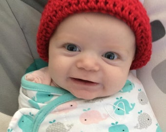 Red Baby Hat, Christmas or Valentine  0-12 month baby boy or girl, Red Baby Beanie, gender  neutral, Crochet  basic beanie, infant hat,