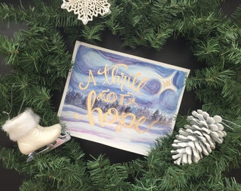A Thrill of Hope! Winter Woods 8 x 10 Hand-Lettered Gold Leaf and Watercolor printable