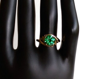 10k Green Spinel Solitaire Ring - Size 6.25 - Gift for Her