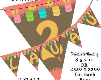 Luau alphabet Bunting, Printable Bunting, Hawaii Bunting, Birthday Bunting, Instant Download, Island Party Bunting, tropical Bunting
