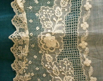 Antique Lace hand done lace/ embroidery wedding hanky/doily 1800s