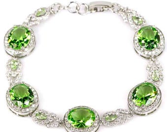 """Sterling Silver Green Tsavorite Garnet Bracelet With AAA CZ Accents Size 7"""" 7.5"""""""