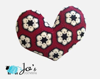 Crochet Pattern - African Flower Heart Pillow