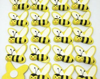 Mini wooden bumble bees x 20, bee insect craft card wood toppers embellishments.