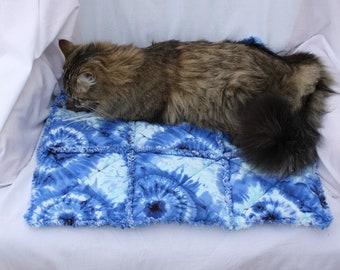 Cat Bed, Blue Cat Blanket, Blue Cat Quilt, Cat Furniture, Pet Supplies, Pet Bedding, Colorado Catnip Blanket, Tie Dyed Cat Bed, Cat Blanket