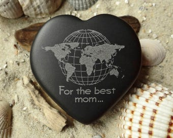 Heart World map for the best mom... Engraved Basalt-heart-lucky charm-mother's Day-world map-engraving