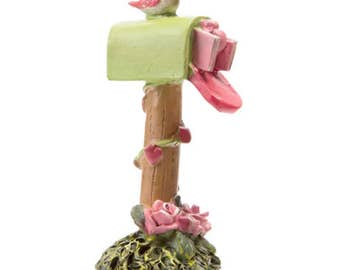 Fairy Accessory Pink Mailbox ~ Miniature Mailbox w/ Pink Roses and Fairy Love Letters ~ Pink Mailbox for Fairies ~ Fairy Garden Supply