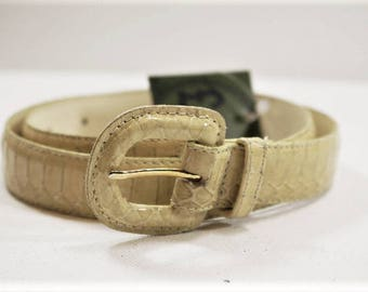 White Genuine Snakeskin Belt