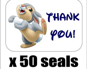 """50 Thumper Thank You Envelope Seals / Labels / Stickers, 1"""" by 1.5"""""""