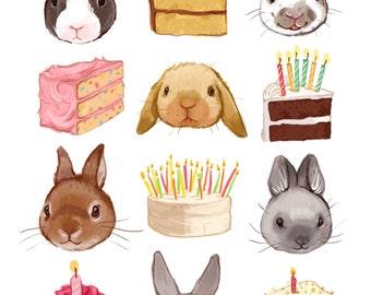 Fine Art Print - Bunnies and Birthday Cake Illustration