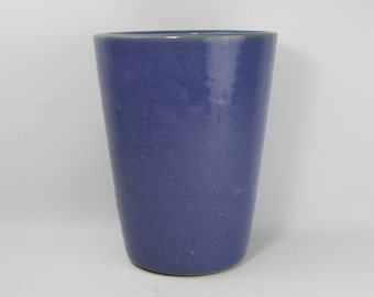 "Heavy Blue 7"" Stoneware Vase or Planter Possibly UHL"
