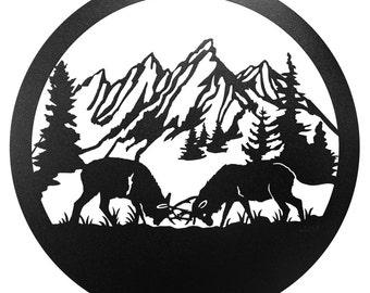 Hand Made Dueling Caribou Elk Deer Wildlife Scenic Art Wall Design *NEW*