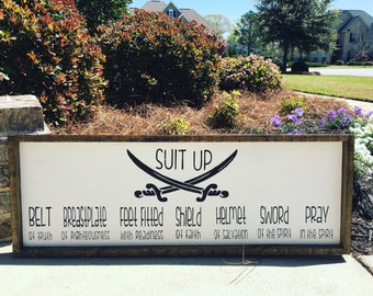 Suit up/armor of God/wooden sign/boys room/home decor