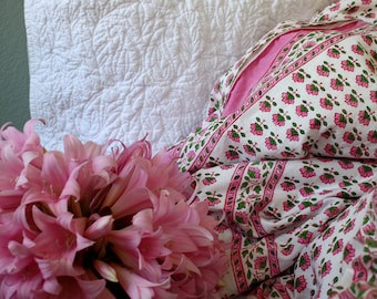 Wood-Block Printed Indian Duvet Cover on percale cotton.