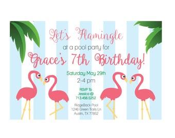 Flamingo Pool Party Invitation