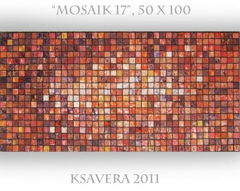 "KSAVERA ""Mosaic 17"" 20x40 Original Palette Knife Painting Art Nouveau Abstract Op Art Cubism Contemporary Gift for Kitchen Office Red Brown"