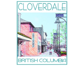 Cloverdale B.C. - Love This Place Cityscape - Art Print on Paper - Home Decor Tourism Gift Photo TheJitterbugShop