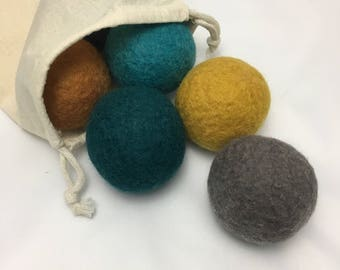 Wool Dryer Balls, fall colors set of 6 natural felted wool balls for laundry
