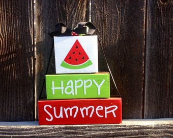 Happy Summer wood blocks--watermelon