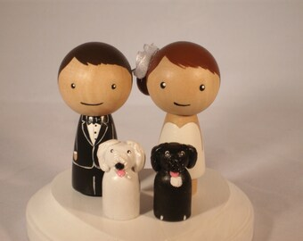 Custom Cake Wedding Topper with Two Pets Custom Kokeshi Wedding Cake Topper Kokeshi Doll Wedding Toppers Custom Cake Toppers