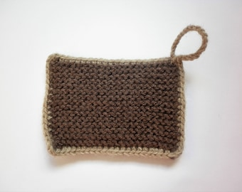 Tawashi / washable sponge - Rectangle - brown - beige strap