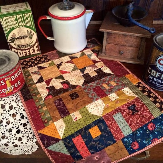 Home Again Patchwork Mini Quilt Kit, A Simple Whatnots Project by Kim Diehl for Henry Glass Fabrics. Popular Primitive Homestyle Design