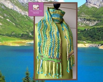 Boho Scarf, Gift For Her, Bohemian Scarf, Freeform Crochet, Crochet Neck Warmer, Chunky Scarf, Colorful Scarf, Festival Scarf