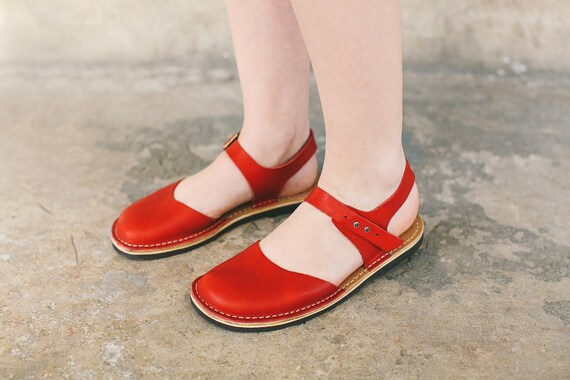 Red Shoes Shoes Leather Barefoot Women's Sandals Summer Sandals Flats Shoes Summer Women Red Leather Sandals Leather Sandals Flats ZpBZRnx