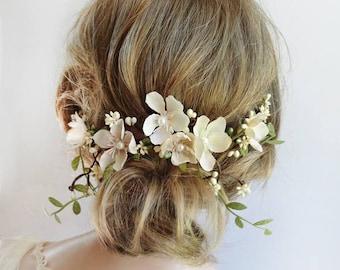 bridal hair piece, bridal headpiece, floral hair vine, floral hair clip, bridal hair vine, fall wedding, ivory hair flower, wedding hair