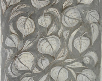 Silver Aspen Painting- Original Mixed Media on Paper- 16x18- Aspen Leaves- Abstract Leaves- Antique Silver, Cream, White- Vertical