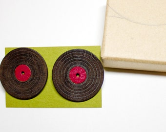 Wood Laser Cut LP Record Earrings - Cranberry Burgundy Red - Free Shipping
