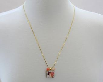 Rose Tile Pendant Necklace