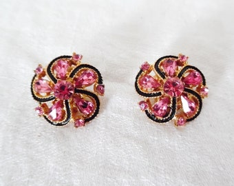 Hot Pink Rhinestone Clip Earrings