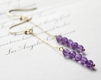 lilac garland. dangle earrings. (african amethyst. micro-faceted rounds. 14k gold filled. jewelry. made to order)