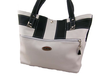 Large tote black and white