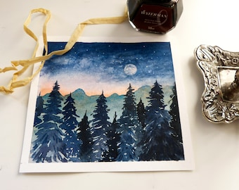 Original watercolor painting Dawn Pine forest Trees Aquarell Moon Sun Day dawning Nature Fayven