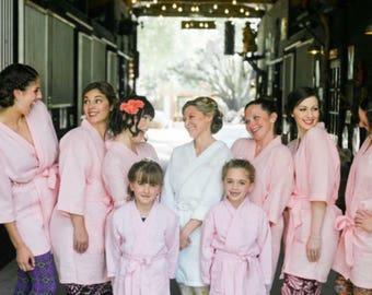 Bridesmaid Gift - Bridal Party / Bridesmaid Robes - Personalized, Short Kimono Waffle Weave Robes - Monogrammed Gift - Bridal Robes