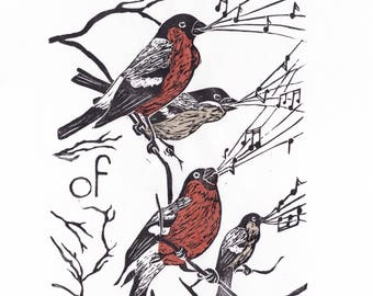 A Bellowing of Bullfinches Linocut - Terms of Venery, Collective Nouns for Animals, Birds, Bullfinches, Typography Lino Block Print