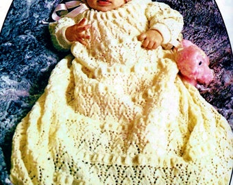 Christening Gown and  Bonnet Vintage Knitting Pattern Download
