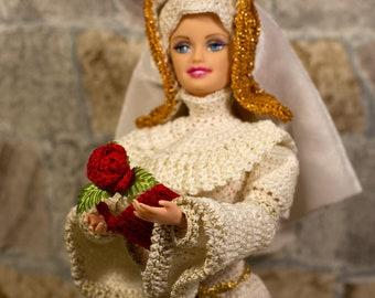 Barbie clothes Barbie sequins Margaret Beaufort dress Medieval Tudor Red Queen doll Handmade crochet historical gown