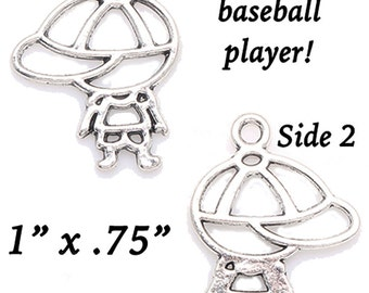 Baseball Player, CUTE Lil' Charms, 4 pcs +Discounts & FREE Shipping*