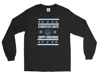 Happy Hanukkah 8 Nights Of Lights Dreidels And Fun Long Sleeve T-Shirt
