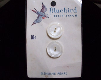 NOS  vintage carded  genuine pearl buttons.