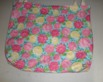 "ReversableFlowers / Sparkling Butterflies Tote Bag. 21 ""W x16""L."