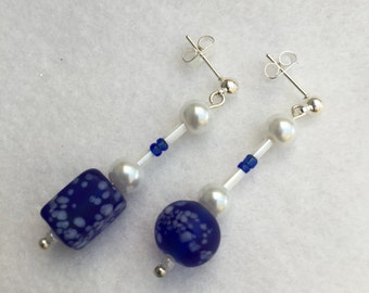 Hand Crafted Blue and Cream Beaded Earrings.