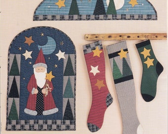 FREE US SHIP Craft Sewing Pattern Christmas Wild Goose Chase Santa's Magic Primitive Arch door Quilt Wall hanging Stockings Socks Moon Stars