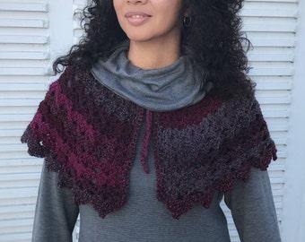 Womens Capelet, shawl, Crochet, Wrap, Gift, ponchos