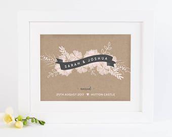 Wedding Personalised Print Botanical Banner Kraft & Blush