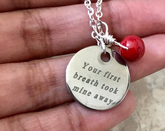 Moms Necklace Your First Breath Took Mine Away Inscription Sparkly Silver Custom Birthstones Swarovski Crystals Customized Jewelry